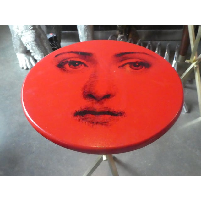 1970s Vintage Fornasetti Red Julia Side Table For Sale - Image 12 of 13