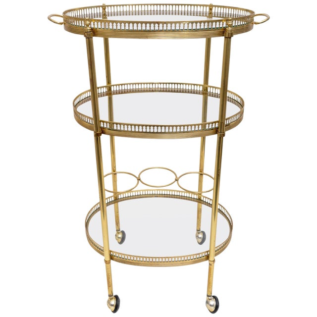 Hollywood Regency Oval Brass Bar Cart, 1970s Florence Italy For Sale