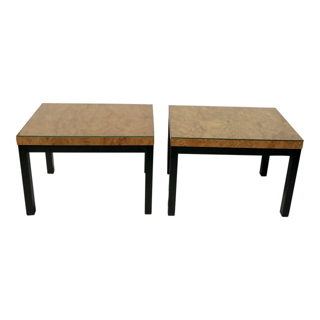 Milo Baughman Burl Wood Side/ End Tables - A Pair - Image 1 of 10