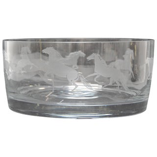 Etched Horses on a Clear Glass Serving Bowl For Sale