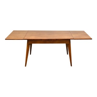 French Walnut Mid Century Draw Leaf Dining Table For Sale