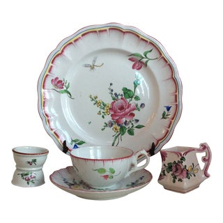 Antique French Luneville Porcelain Breakfast Set For Sale