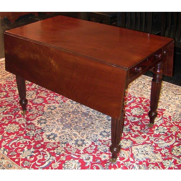 Hollywood Regency 19c British William IV Mahogany Large Pembroke Table or Sofa Table For Sale - Image 3 of 9