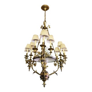 Monumental Hollywood Regency French Neoclassical 13-Light Brass Chandelier For Sale