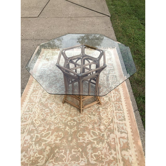 Tan Boho McGuire Style Bent Rattan Table + Octagon Shaped, Beveled Glass Top For Sale - Image 8 of 11