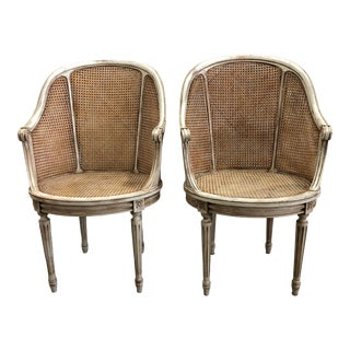Late 20th Century Double Caned Tall Louis Style Chairs - a Pair For Sale
