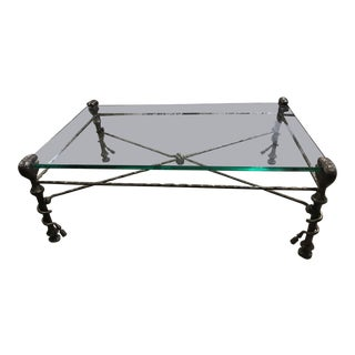 Mid-Century Modern Glass Top Coffee Table For Sale