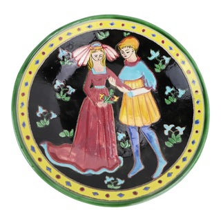 Late 20th Century Sarlat Medieval Ceramic Plate For Sale
