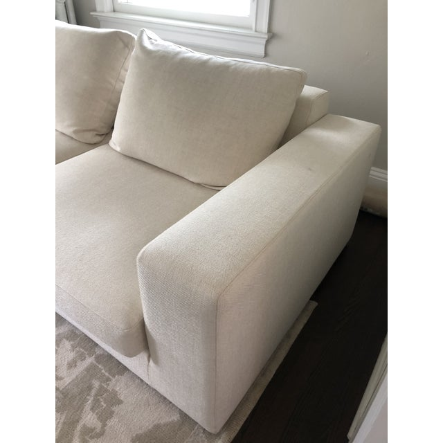 Off White Linen Sectional Sofa With Ottoman For Sale - Image 10 of 12