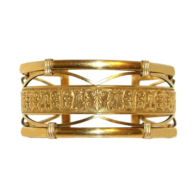 1930s to 1940s Krementz 14k Gold Overlay Ornate Motif Cuff For Sale