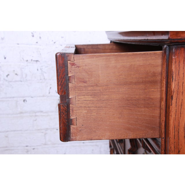 Antique Carved Oak Three-Drawer Bachelor Chest For Sale - Image 11 of 12