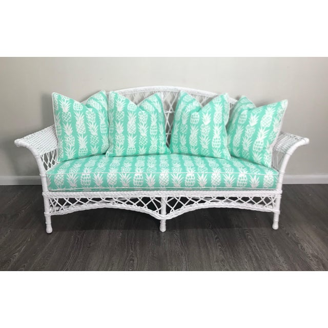 Wicker Vintage Wicker Loveseat in White Lacquer With Cushion Pillows in Aqua Pineapple For Sale - Image 7 of 7
