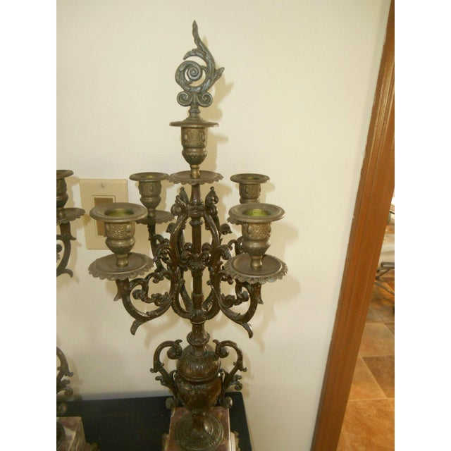 Antique Rose Italian Marble and Gilt Brass Candelabras - A Pair - Image 6 of 6