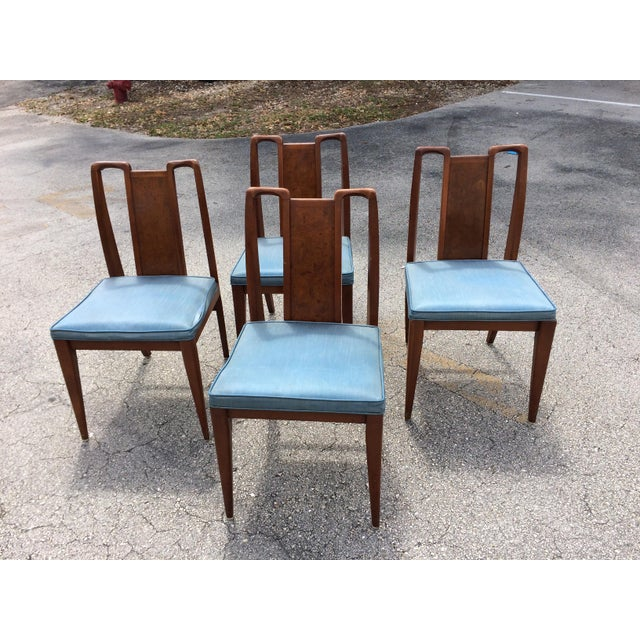 Mid-Century Modern Curved Burl Wood Dining Chairs- Set of 4 - Image 2 of 10