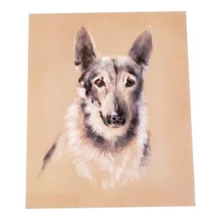 1980s German Shepherd Mixed Media, Artist Signed For Sale