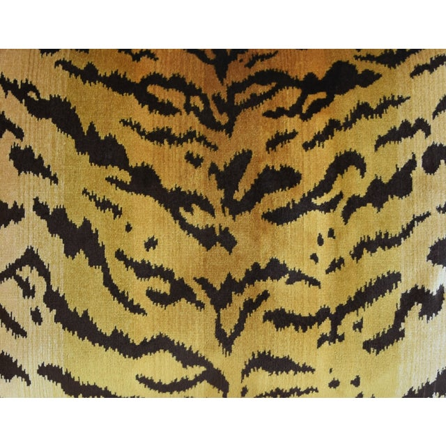 "Scalamandre Scalamandre Le Tigre Tiger Silk Velvet Feather/Down Pillow 23"" X 18"" For Sale - Image 4 of 8"