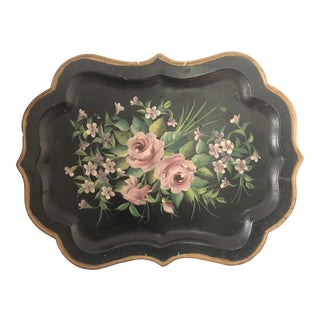 Hand-Painted Floral Tole Tray For Sale