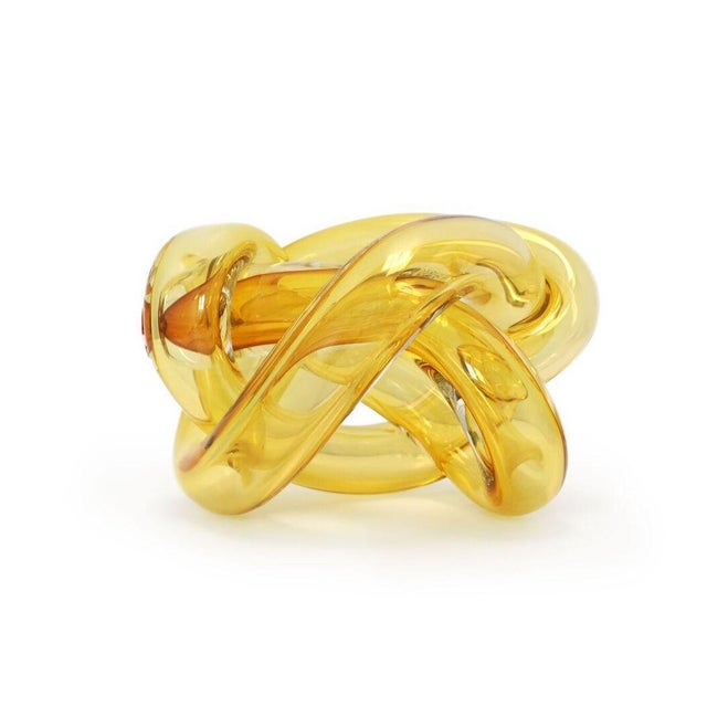 Abstract Wrap Object Glass Knot- Amber For Sale - Image 3 of 4