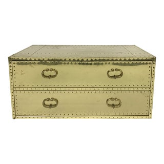 Vintage Sarreid Ltd Two-Drawer Brass-Clad Chest For Sale