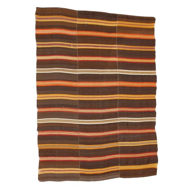 """Antique Stripe Jajim Blanket Rug - 6'8"""" x 4'11"""" For Sale"""