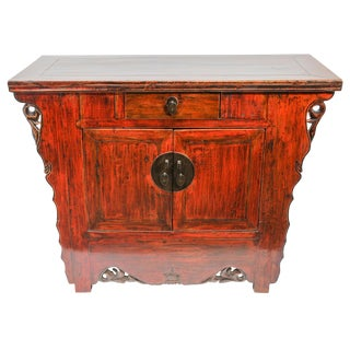 Chinese Ming Dynasty Style Altar Red Lacquered Cabinet For Sale