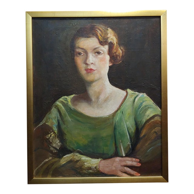 Antonia Greene -1920s Portrait of a Woman in Green -Oil Painting For Sale