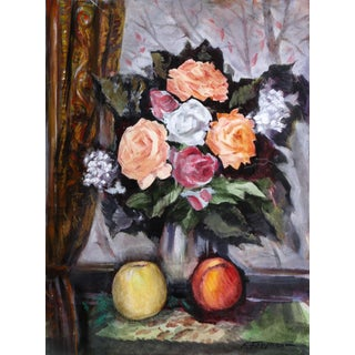 Erik Freyman, Apples and Flowers, Watercolors With Pastel For Sale