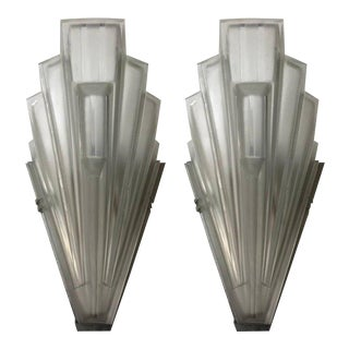 French Art Deco Skyscraper Sconces Signed by Sabino - A Pair For Sale