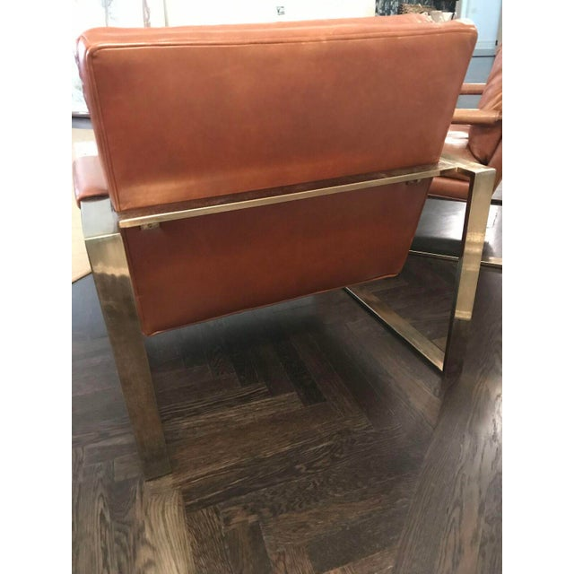 Milo Baugman by Thayer Coggin Brown Leather Chairs - a Pair - Image 5 of 6