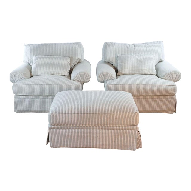 Michael Thomas Armchairs and Ottoman- 3 Pieces For Sale