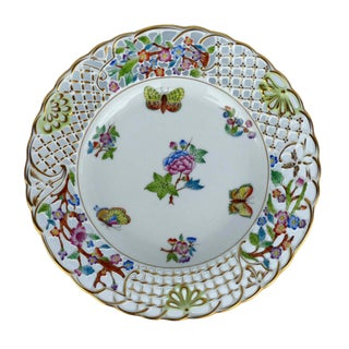 1990s Vintage Herend Hungary Handpainted Plate For Sale