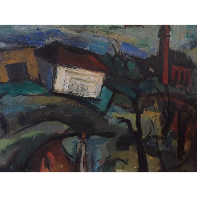 Abstract Mid-Century Abstract Expressionist Landscape Original Oil on Canvas Painting For Sale - Image 3 of 8