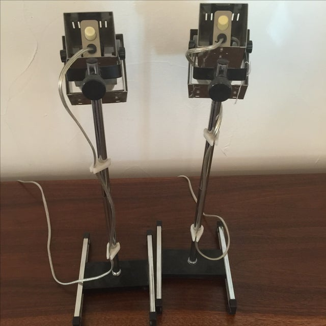 1960s Architectural Chrome Desk Lamps - A Pair - Image 6 of 8