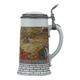 Der Lindenbaum Mettlach Beer Stein For Sale