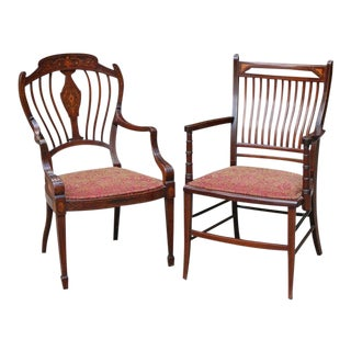Pair of His and Hers Inlaid Mahogany Edwardian Armchairs With Red Fabric Seats For Sale