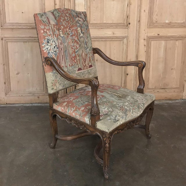 19th Century French Louis XV Armchair With Tapestry For Sale - Image 12 of 13