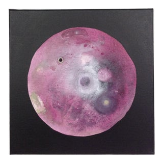 Original Abstract Magenta Rose Red and Celadon Moon Painting For Sale