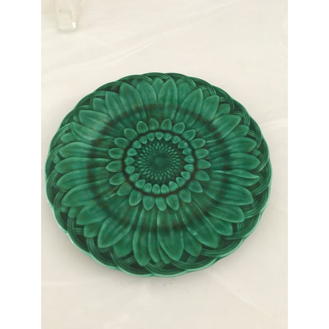 Ceramic 1870's Wedgwood Green Majolica Sunflower in Basket Plate For Sale - Image 7 of 7