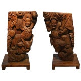 Image of Pair of Antique Hand-Carved Wood Temple Corbels From China, 19th Century For Sale