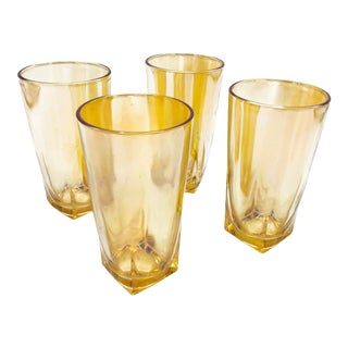Vintage Mid-Century Modern Jeannette Iridescent Peach Lusterware Glasses With Square Bottoms - Set of 4 For Sale