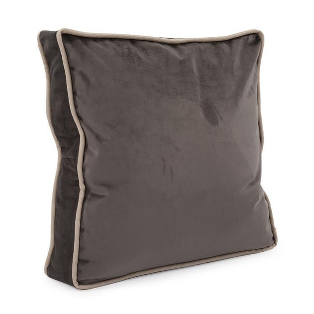 Textile Kenneth Ludwig Chicago Gusseted Bella Pewter Velvet Pillow With Contrast Welt For Sale - Image 7 of 7