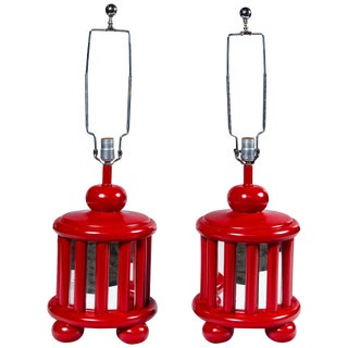 Pair of Mid-Century Mirrored Red Lamps For Sale