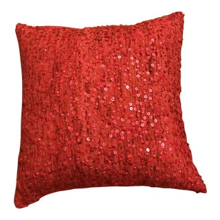 West Elm Red Sequin Linen Pillow