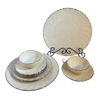 Lenox Weatherly Swirled Dish Platinum Rim Edge Dishes - Set of 10 For Sale
