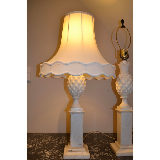 1950s Italian Alabaster Pineapple Lamps - a Pair For Sale - Image 10 of 12