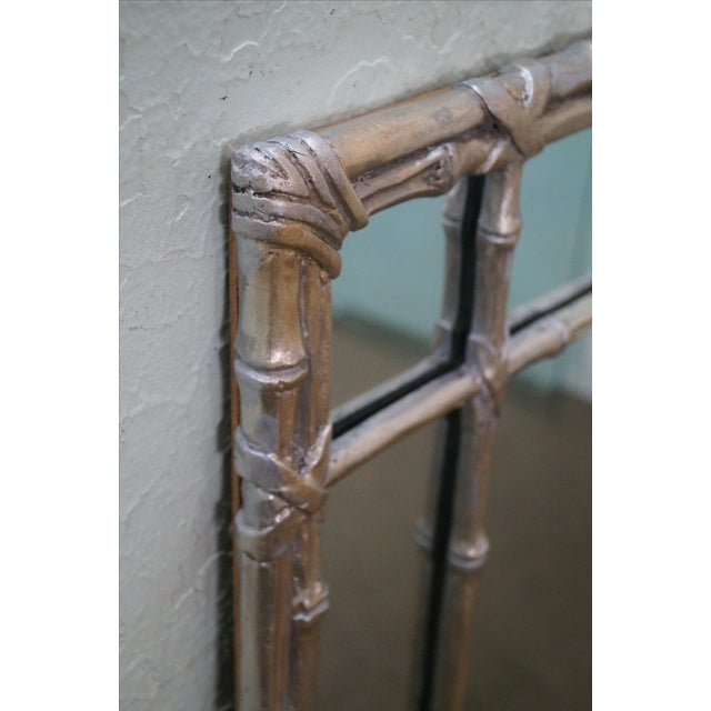 Hollywood Regency Faux Bamboo Mirror For Sale - Image 5 of 10
