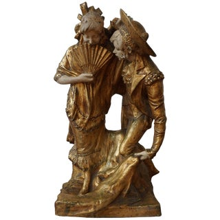 19th Century Spanish Painted and Gilt Terracotta Stamped Statue For Sale