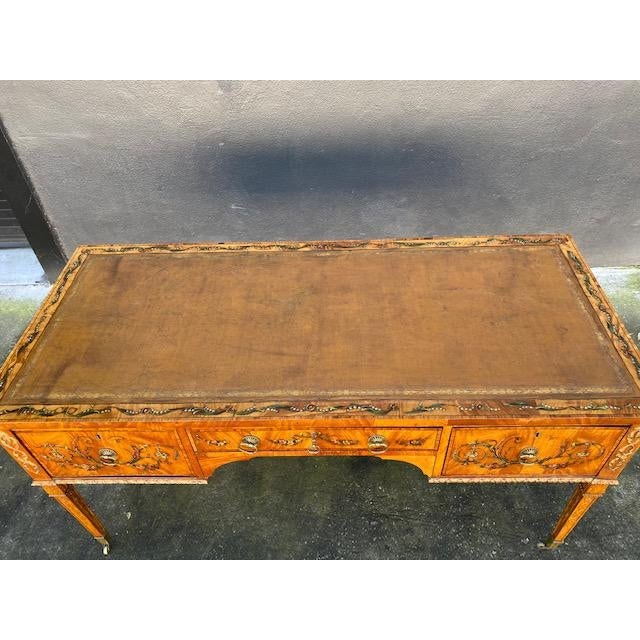 Leather Fine Early 19th C. English Painted Satonwood Desk With Leather Top For Sale - Image 7 of 13