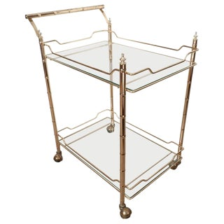 Faux Bamboo Brass Bar Cart For Sale
