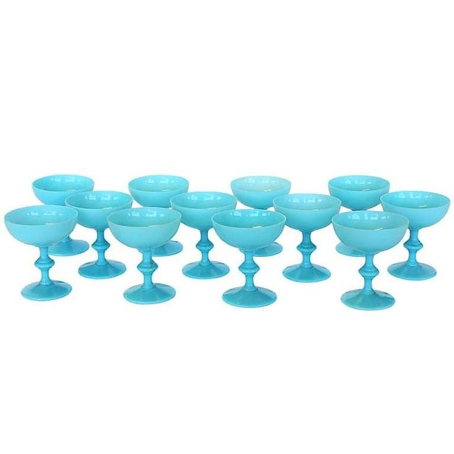 Art Deco Vintage Portieux Vallerysthal French Blue Opaline Champagne Coupes - Set of 12 For Sale - Image 3 of 4